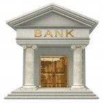 Iconic 3D caricatyure model of a bank isolated on a white background