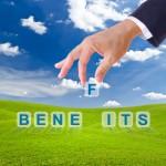 business man hand made benefits word buttons