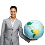 TaxConnections Picture - Business Woman Holding World - square