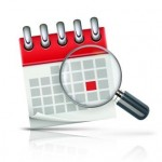 Vector illustration of search concept with calendar icon and magnifying glass
