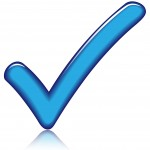 Vector illustration of blue check icon on white background