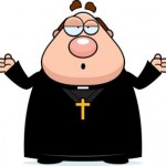 A cartoon illustration of a priest looking confused.