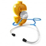 A stethoscope checking the heartbeat of the dollar, white background