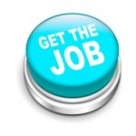 3d Illustration of shiny get the job button isolated white background