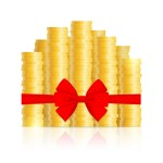Columns of gold coins, knotted by ribbon with red bow, on white background