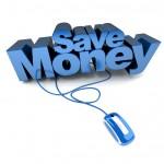 Save Money online in blue