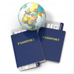 World travel. Earth, airline tickets and passport on white background. 3d