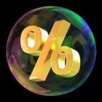 Percentage symbol in soap bubble as sale concept