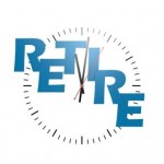 Retire word with clock image with hi-res rendered artwork that could be used for any graphic design.