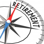 Compass with retirement word