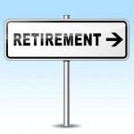 illustration of retirement sign on sky background