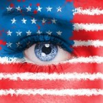 USA flag painted on woman face